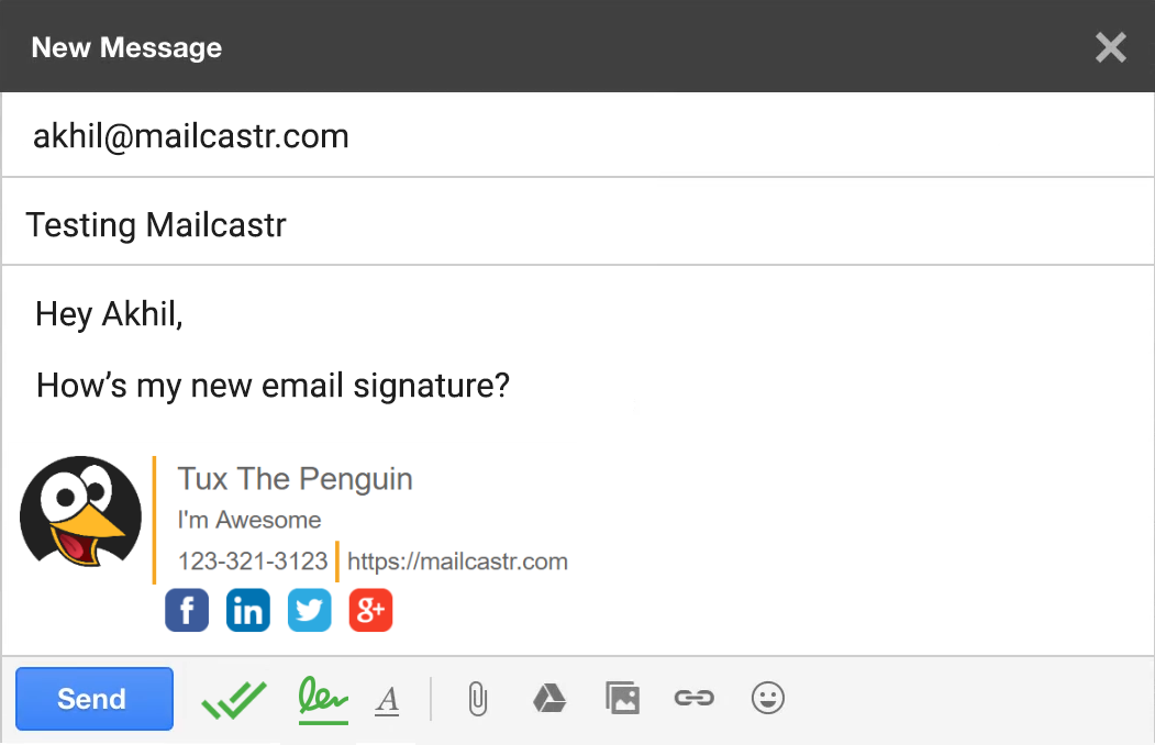 mailcastr email signature feature